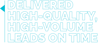 Delivered high-quality, high-volume leads on time